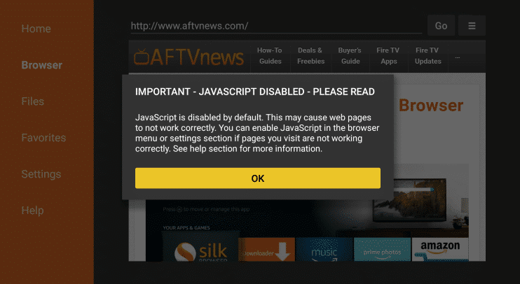 JavaScript Disabled - Cinema HD on Fire Stick & Fire TV