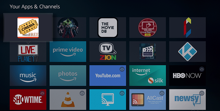Cinema APK UI on FireStick, Fire TV & Fire TV Cube