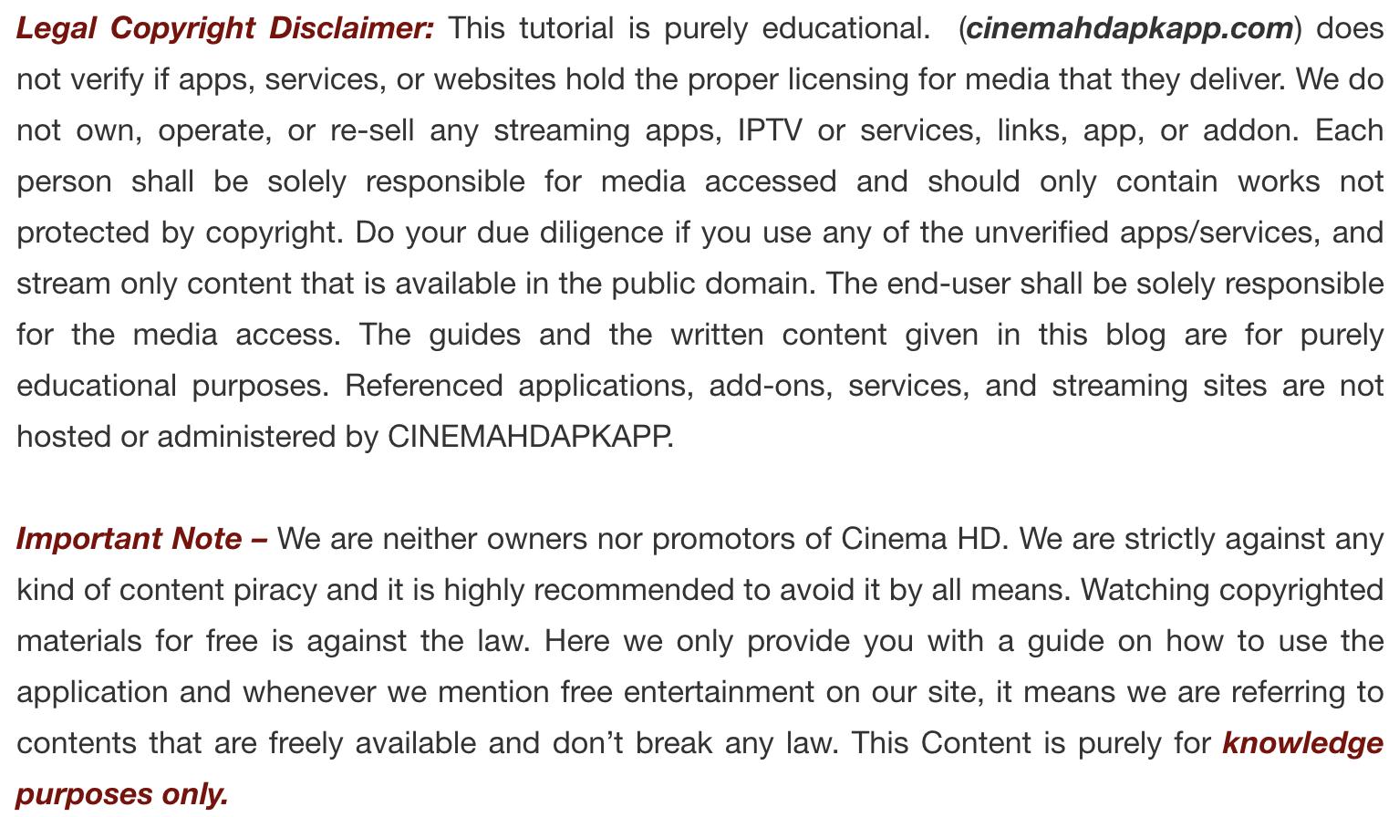 Legal Disclaimer - Cinema HD